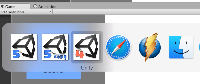 several unity versions mac os window switch