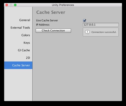Unity Preferences - Cache server